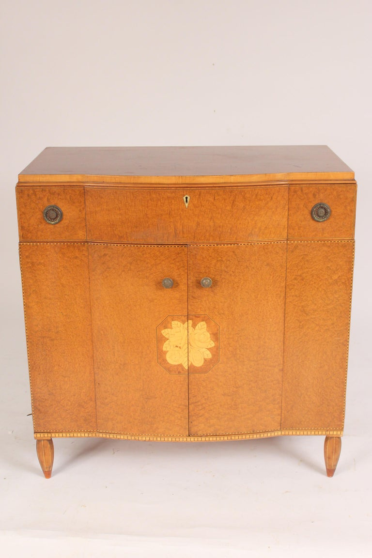 Art Moderne burled ash cabinet / chest of drawers, circa 1930-1950.