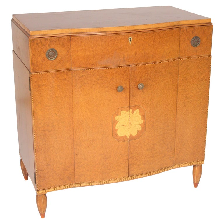 Art Moderne Burled Ash Cabinet / Chest of Drawers For Sale