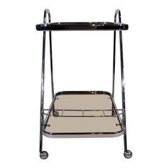 """Art Moderne"" Chrome and Glass Bar Cart"
