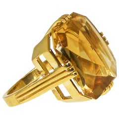 Art Moderne Gold and Fancy Cut Citrine Ring, circa 1945