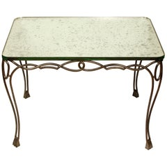 Art Moderne Iron and Mirror Top Table