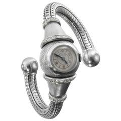 Boucheron Paris circa 1937 Art Moderne Platinum and Diamond Ball Wristwatch