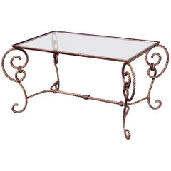 Art Moderne Rope and Tassel Design Glass Top Coffee Table