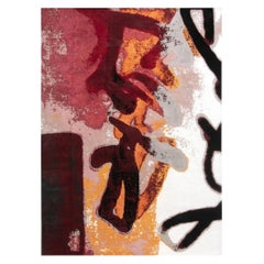Contemporary Art Moderne Orange, Pink, Red, White & Black Hand-knotted Wool Rug