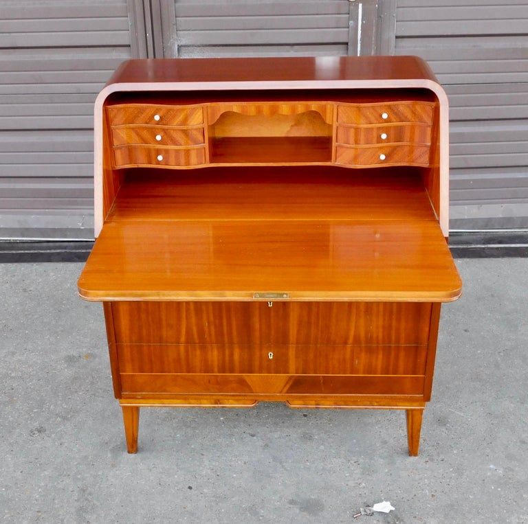 Art Deco Art Moderne Secretaire Desk with Chest of Drawers in Mahogany, Sweden, 1940s For Sale