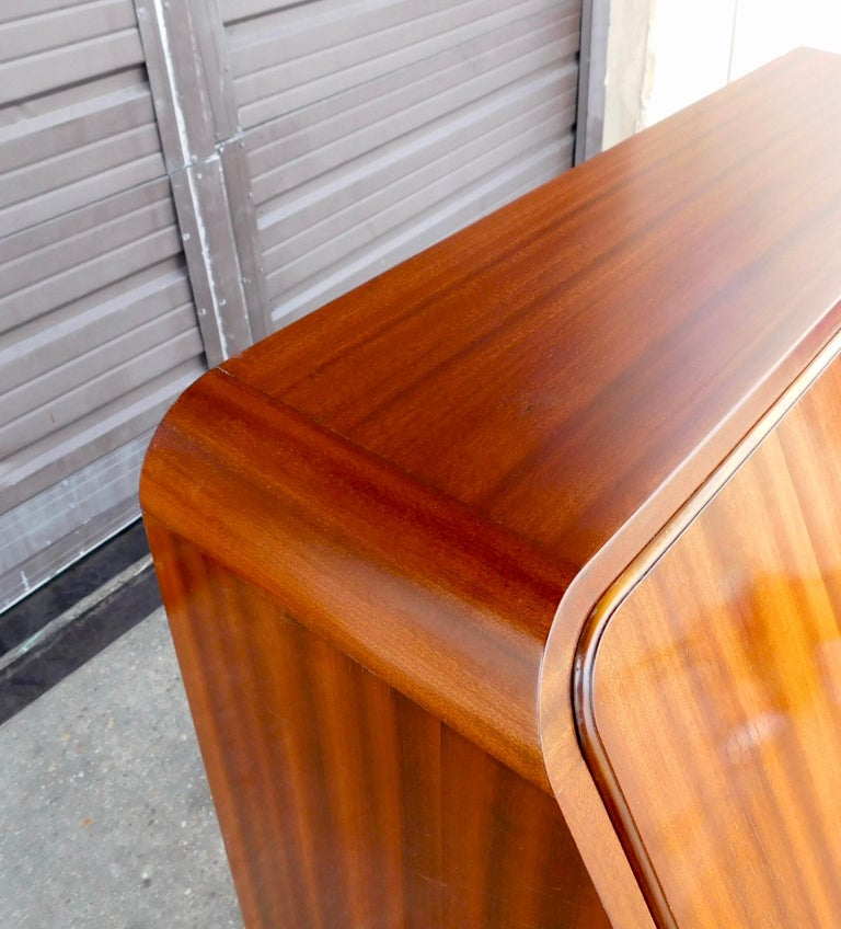 Swedish Art Moderne Secretaire Desk with Chest of Drawers in Mahogany, Sweden, 1940s For Sale