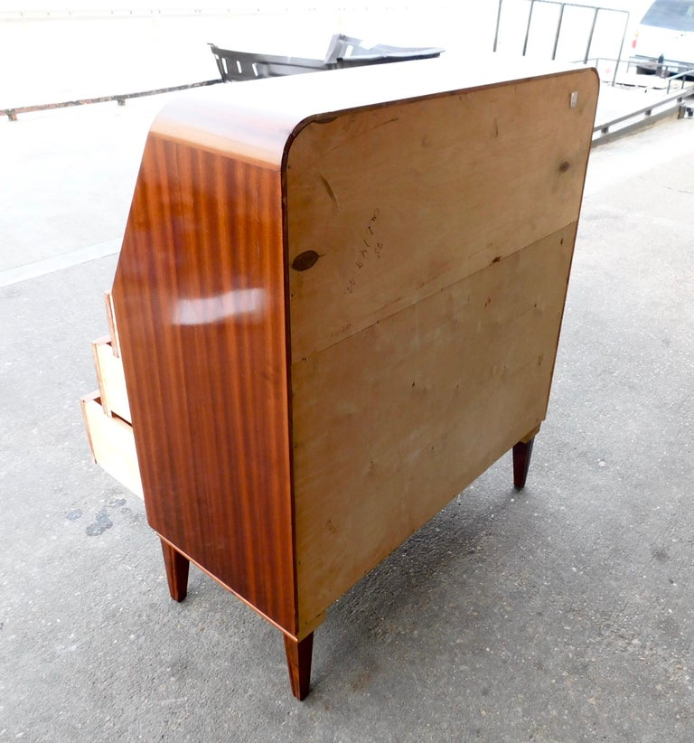 Art Moderne Secretaire Desk with Chest of Drawers in Mahogany, Sweden, 1940s In Good Condition For Sale In Richmond, VA
