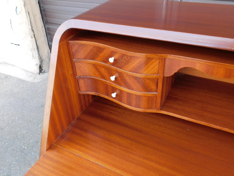 Art Moderne Secretaire Desk with Chest of Drawers in Mahogany, Sweden, 1940s For Sale 2