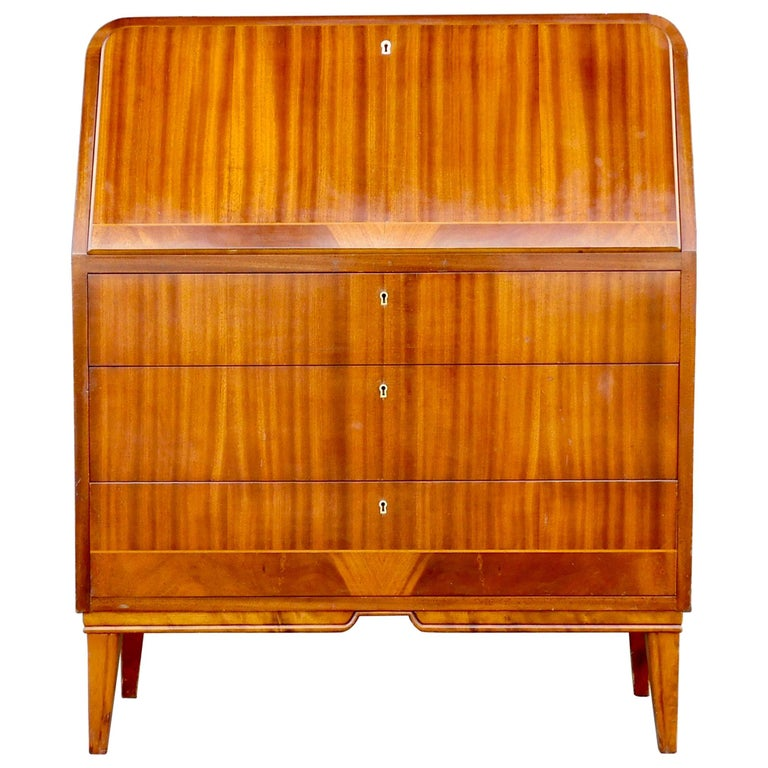 Art Moderne Secretaire Desk with Chest of Drawers in Mahogany, Sweden, 1940s For Sale