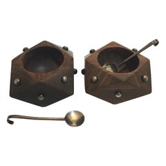Art Moderne Spratling Sterling & Rosewood Salt Cellars, a Pair