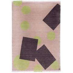 Hand Knotted Brown Square and Green Circle Shapes Design Wool Rug by Carpets CC