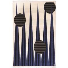 Art Money Blue - Geometric Neutral Off White Blue & Black Circles by Carpets CC