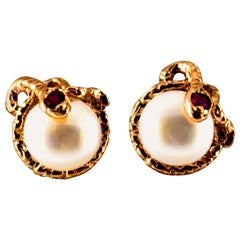 "Art Nouveau 0.08 Carat Ruby Pearl Yellow Gold Stud Dangle ""Snake"" Earrings"