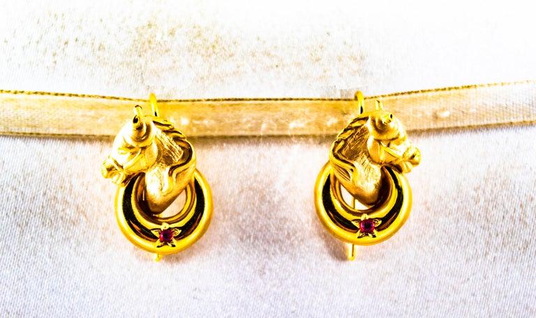 Art Nouveau 0.10 Carat Ruby Yellow Gold Stud Dangle