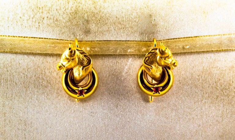 Women's or Men's Art Nouveau 0.10 Carat Ruby Yellow Gold Stud Dangle