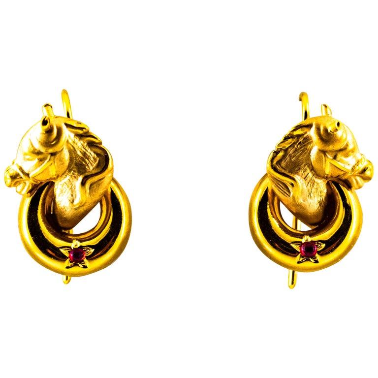 "Art Nouveau 0.10 Carat Ruby Yellow Gold Stud Dangle ""Horses"" Earrings For Sale"