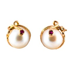"Art Nouveau 0.12 Carat Ruby Mabe Pearl Yellow Gold Stud Dangle ""Snake"" Earrings"