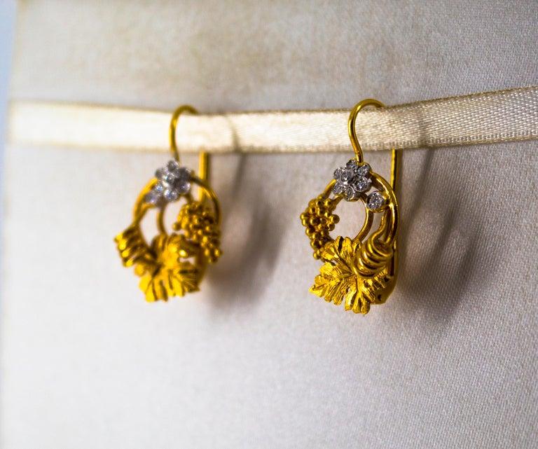 Women's or Men's Art Nouveau 0.18 Carat White Diamond Yellow Gold Flower Lever Back Earrings For Sale