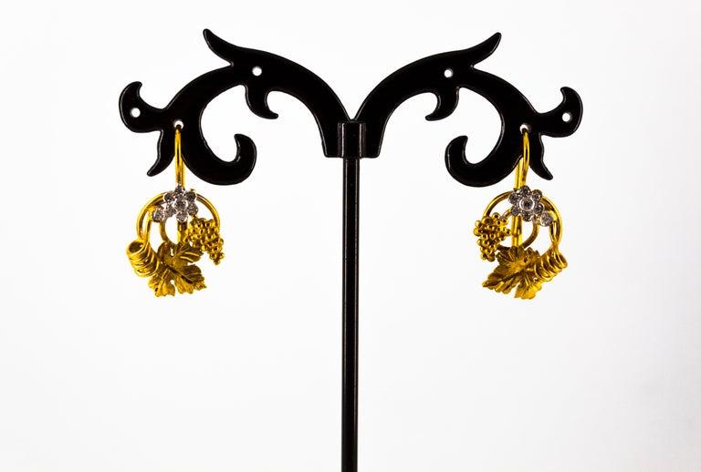 Art Nouveau 0.18 Carat White Diamond Yellow Gold Flower Lever Back Earrings For Sale 1