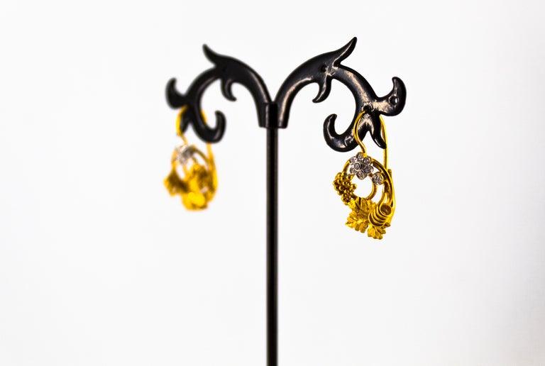 Art Nouveau 0.18 Carat White Diamond Yellow Gold Flower Lever Back Earrings For Sale 4