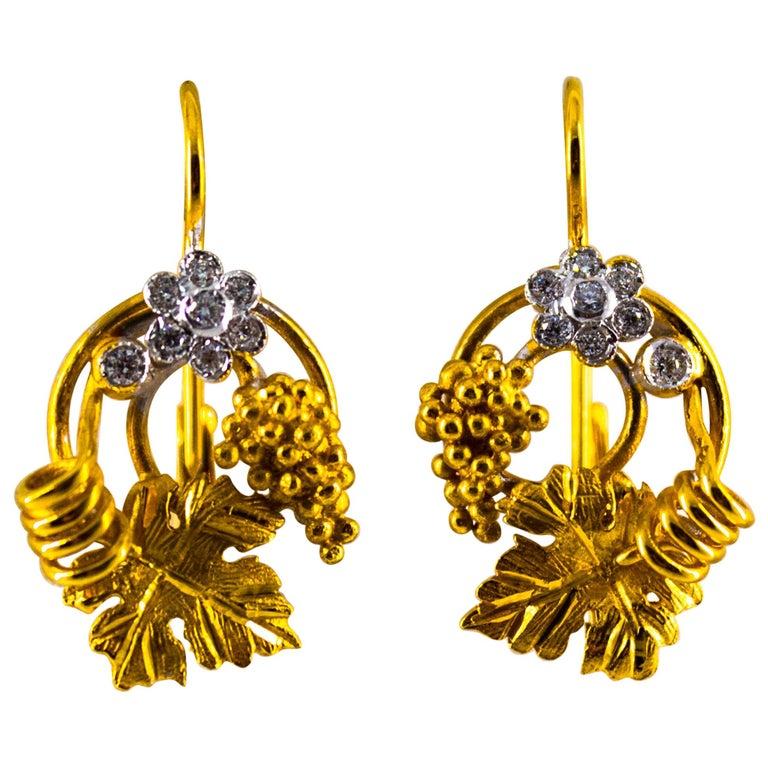 Art Nouveau 0.18 Carat White Diamond Yellow Gold Flower Lever Back Earrings For Sale