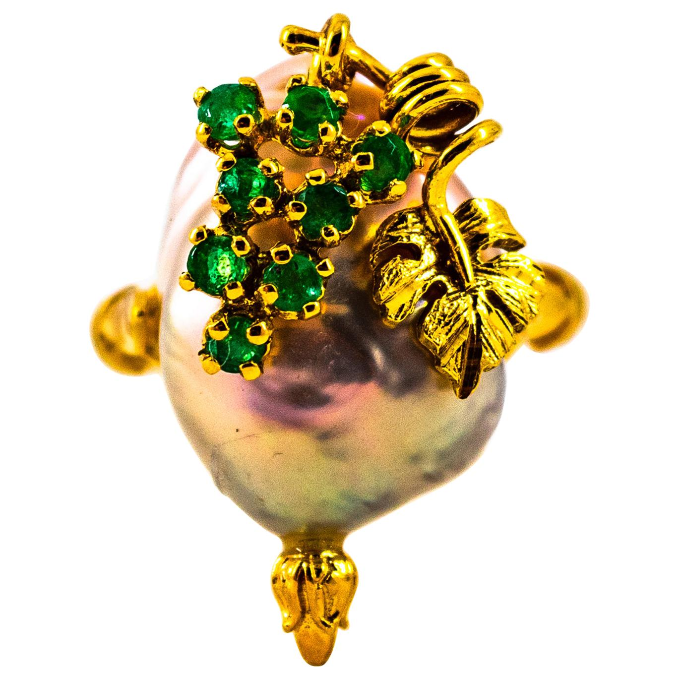 Art Nouveau Style 0.20 Carat Emerald Pearl Yellow Gold Cocktail Ring