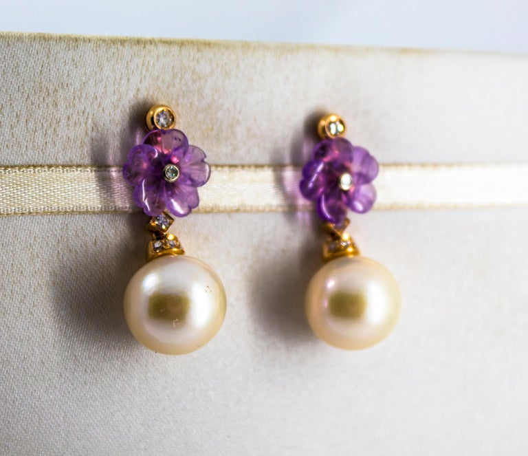 Art Nouveau 0.20 Carat White Diamond Amethyst Pearl Yellow Gold Drop Earrings In New Condition For Sale In Naples, IT