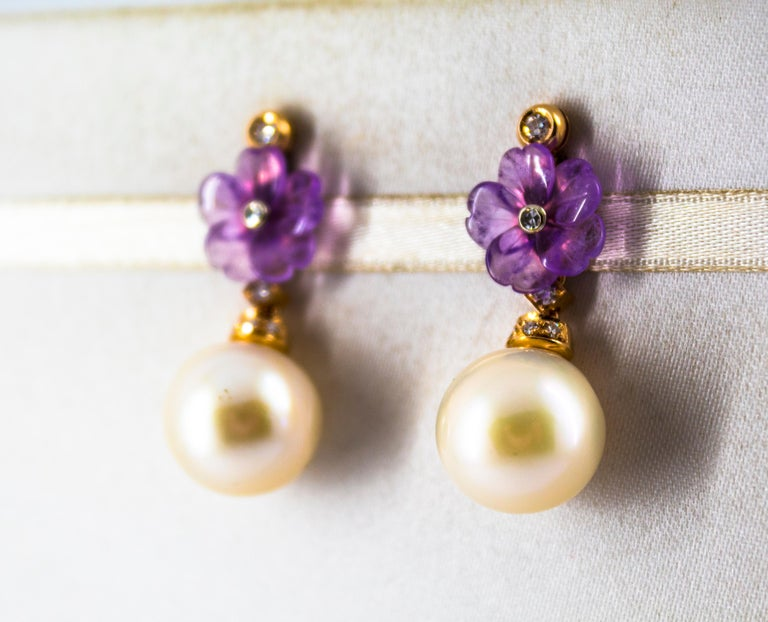 Women's or Men's Art Nouveau 0.20 Carat White Diamond Amethyst Pearl Yellow Gold Drop Earrings For Sale