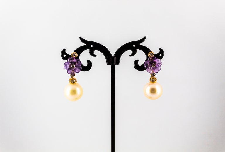 Art Nouveau 0.20 Carat White Diamond Amethyst Pearl Yellow Gold Drop Earrings For Sale 1