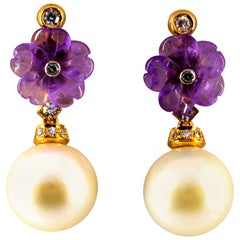Art Nouveau 0.20 Carat White Diamond Amethyst Pearl Yellow Gold Drop Earrings