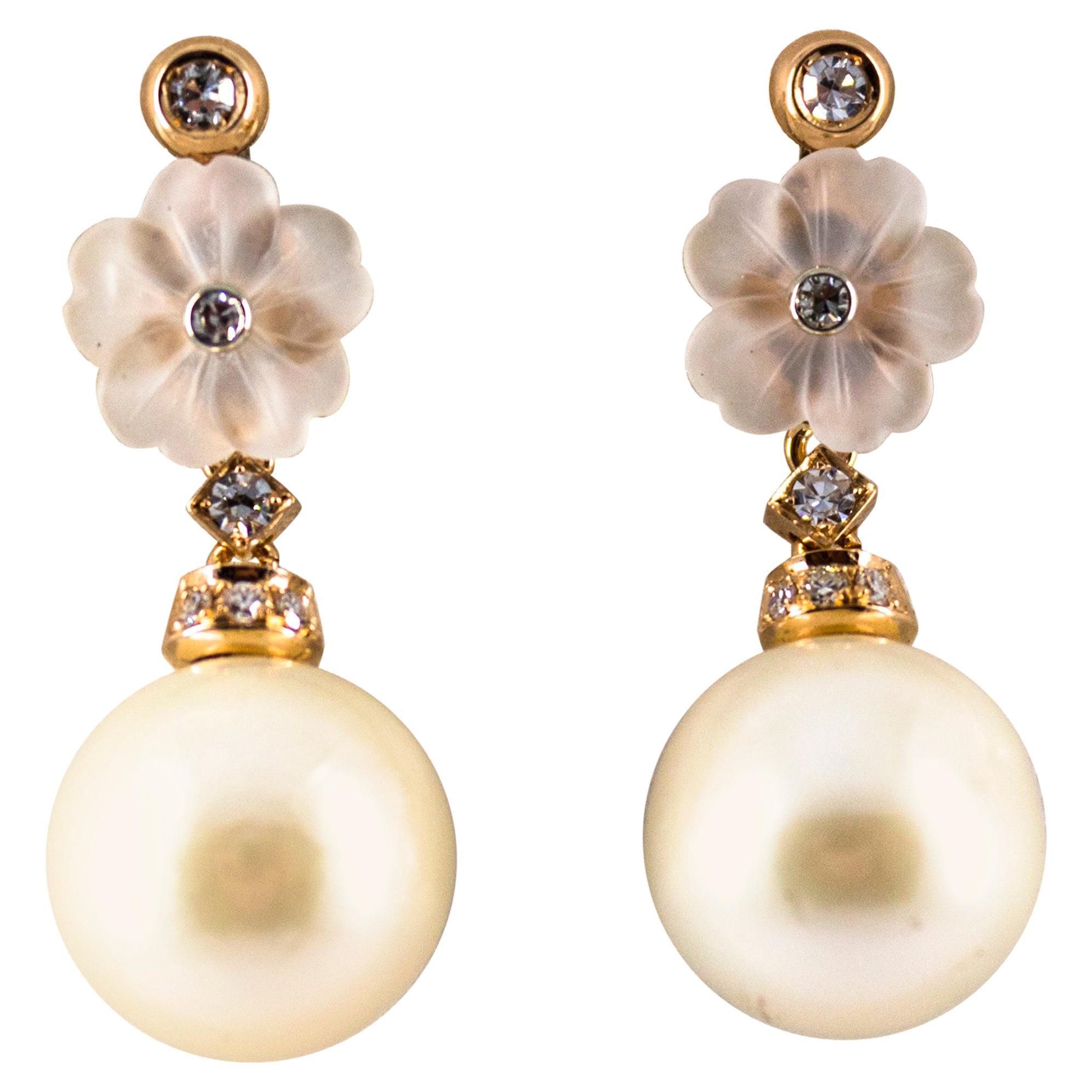 Art Nouveau 0.20 Carat White Diamond Rock Crystal Pearl Yellow Gold Earrings