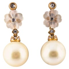 Art Nouveau 0.20 Carat White Diamond Rock Crystal Pearl Yellow Gold Earrings