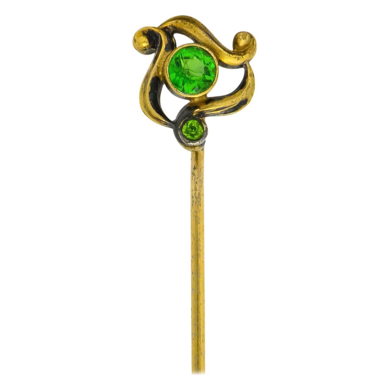 Art Nouveau 0.40 Carat Demantoid Garnet Gold Stylized Whiplash Stickpin