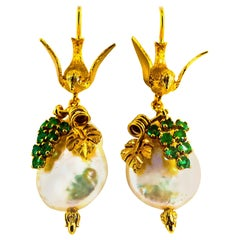 "Art Nouveau 0.40 Carat Emerald Pearl Yellow Gold Stud Drop ""Birds"" Earrings"