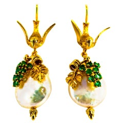 "Art Nouveau 0.40 Carat Emerald Pearl Yellow Gold Stud Drop ""Birds"" Earrings"