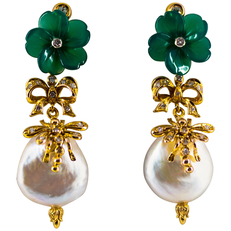 Art Nouveau 0.40 Carat White Diamond Agate Pearl Yellow Gold Drop Stud Earrings