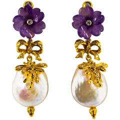 Art Nouveau 0.40 Carat White Diamond Amethyst Pearl Yellow Gold Drop Earrings