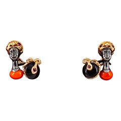 Art Nouveau 0.44 Carat White Diamond Ruby Onyx Red Coral Yellow Gold Cufflinks