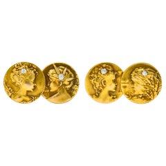 Art Nouveau 0.45 Carat Diamond 14 Karat Gold Men's Four Seasons Cufflinks