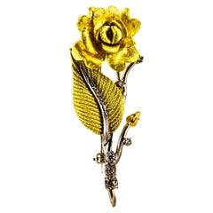 Art Nouveau 0.50 Carat White Modern Round Cut Diamond Yellow Gold Flower Brooch
