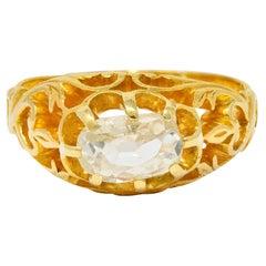 Art Nouveau 0.67 Carat Old Mine Diamond 18 Karat Yellow Gold Whiplash Ring