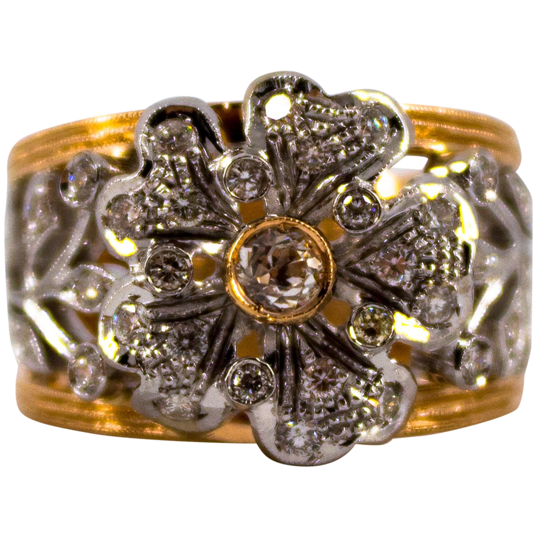 "Art Nouveau 0.70 Carat White Diamond Yellow Gold Fashion ""Flower"" Ring"