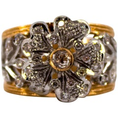"Art Nouveau 0.70 Carat White Diamond Yellow Gold Fashion ""Flower"" Ring"