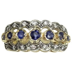 Art Nouveau 0.80 Carat Sapphire White Diamonds 14 Karat Yellow Gold Ring