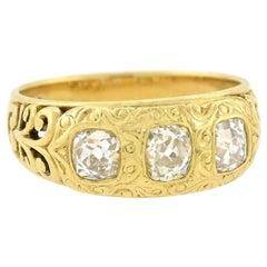 Art Nouveau 1.00 Total Carat Mine Cut Diamond 3-Stone Ring