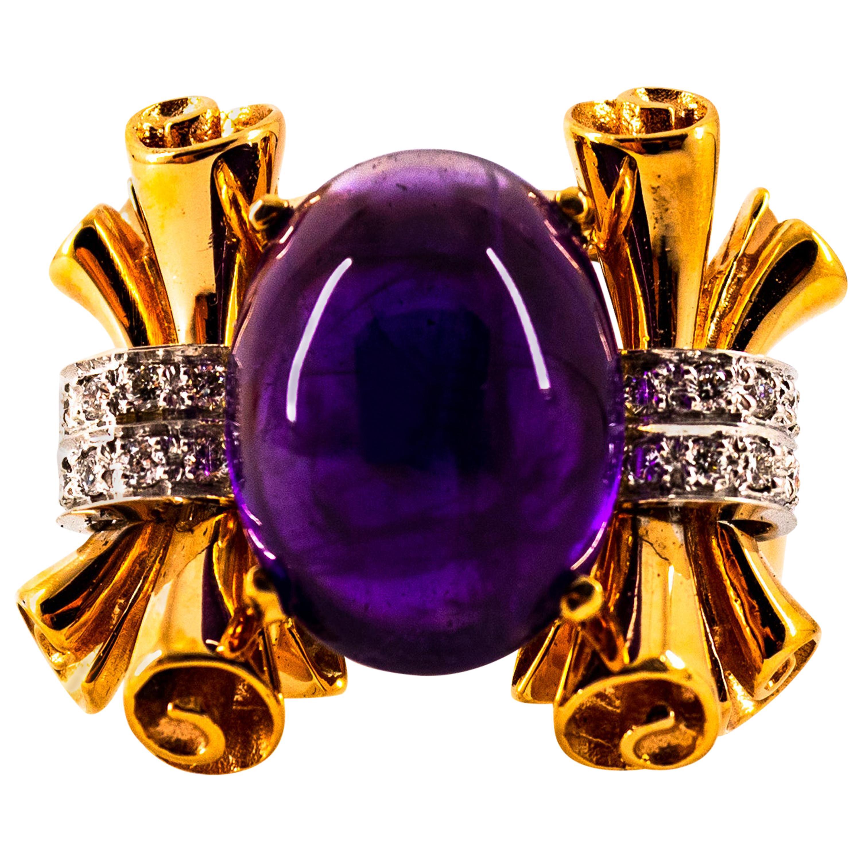 Art Nouveau 10.30 Carat White Diamond Amethyst Yellow Gold Cocktail Ring
