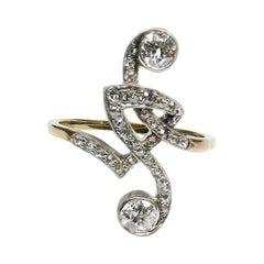 "Art Nouveau 1.12 Carat Diamond Ring ""Toi et Moi"", circa 1910"