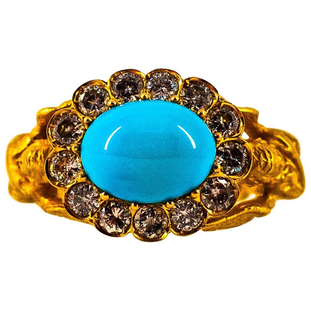 Art Nouveau 1.15 Carat White Diamond Turquoise Yellow Gold Cocktail Ring