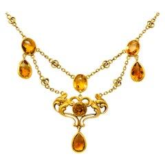 Art Nouveau 11.50 Carat Citrine 14 Karat Gold Swag Necklace