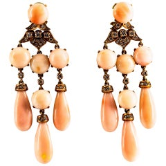 Art Nouveau Style White Diamond Pink Coral Yellow Gold Clip-On Earrings